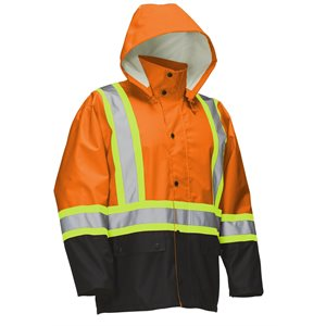 FORCEFIELD safety rain jacket with reflective tape