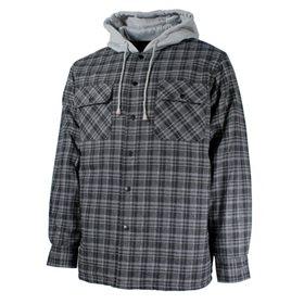 Chemise à carreaux doublée grise avec capuchon
